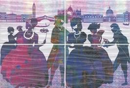 HGD\A197\4x\8275 Панно Карнавал в Венеции, панно из 4 частей 20х30 (размер каждой части)